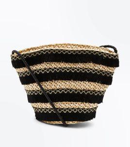 black-tassel-stripe-straw-bucket-bag-newlook £15.99