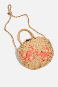 Crab Mini Round Straw Tote Bag topshop £22