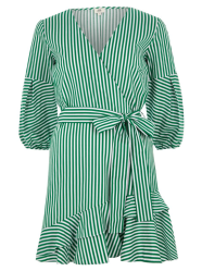 Green stripe frill hem tie waist dress £46 river island